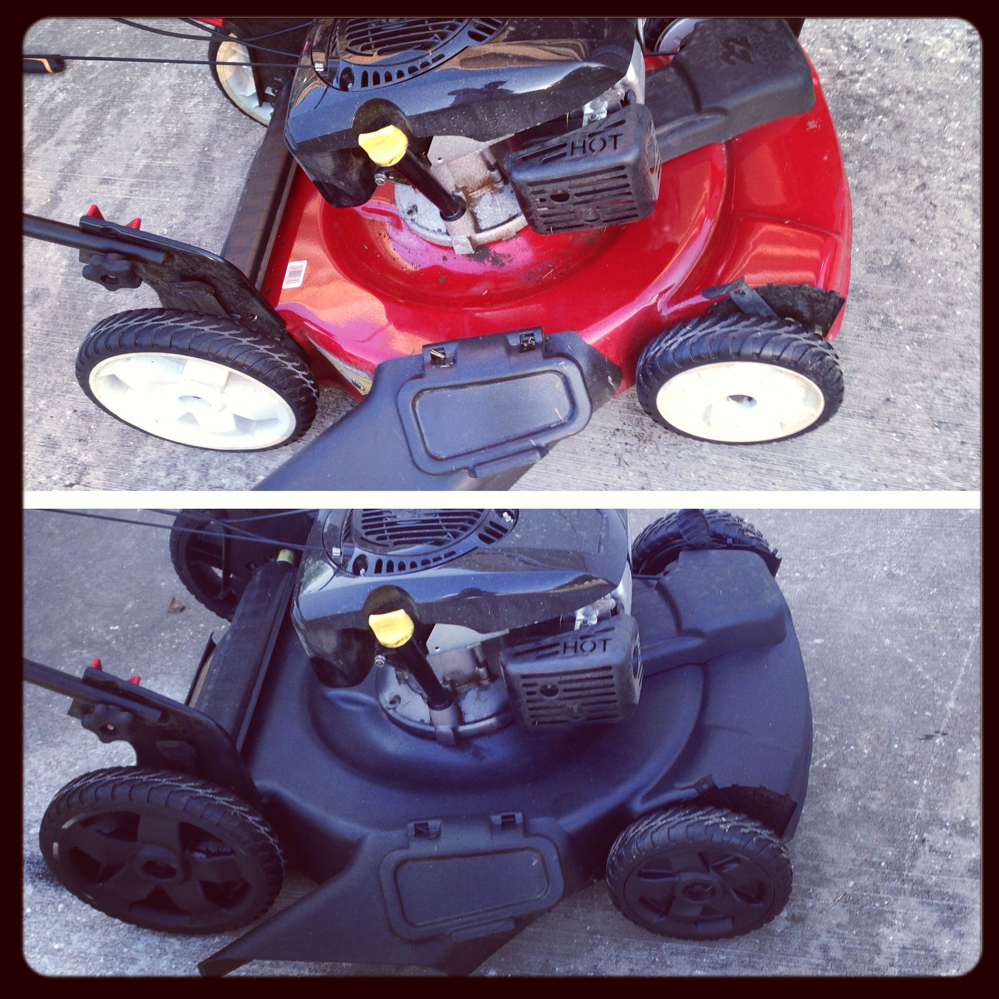 Red lawn mower with white wheels transformed into black on