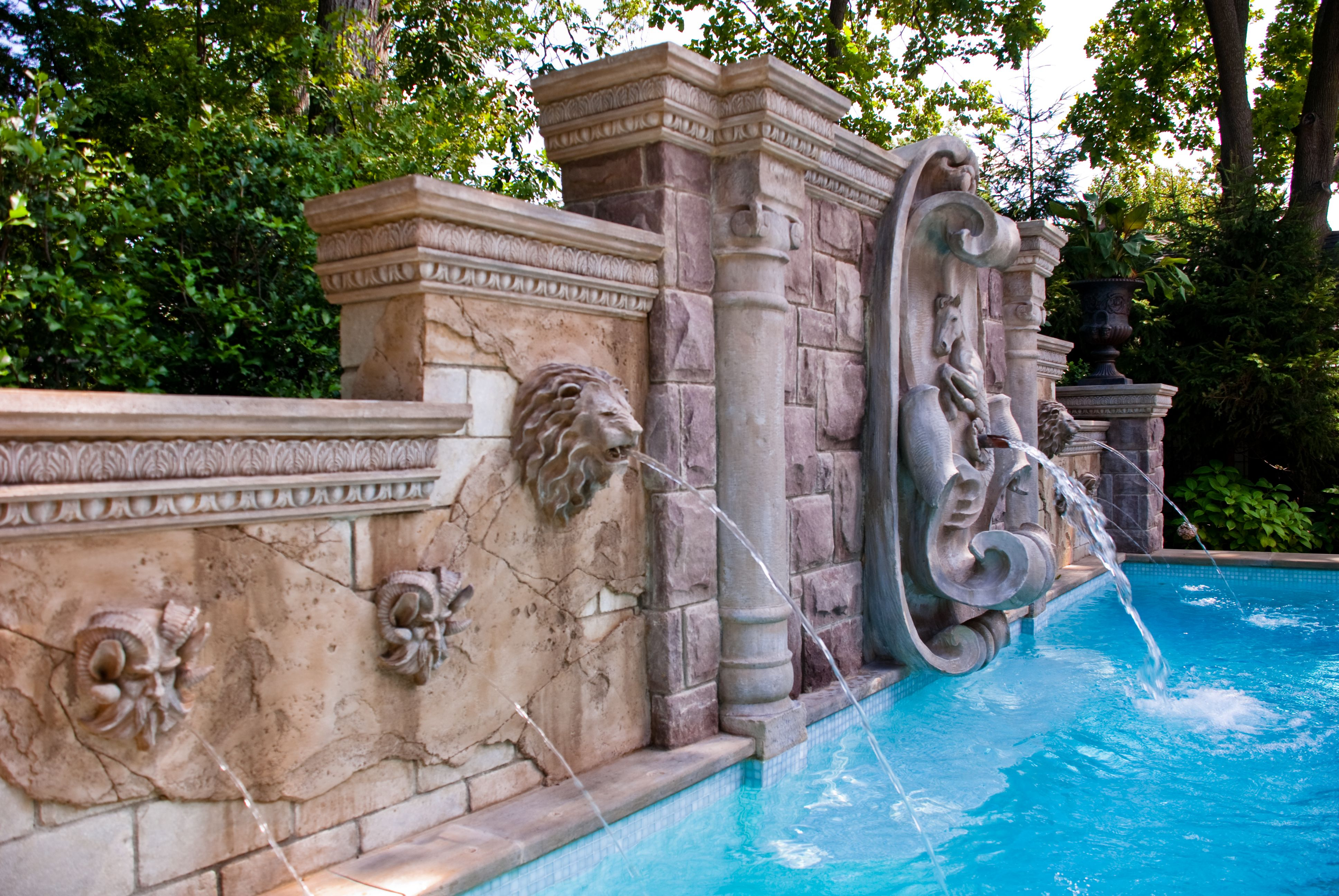 pool fountain heads each faux stone sculpture acts as a fountain streaming water quietly. Interior Design Ideas. Home Design Ideas