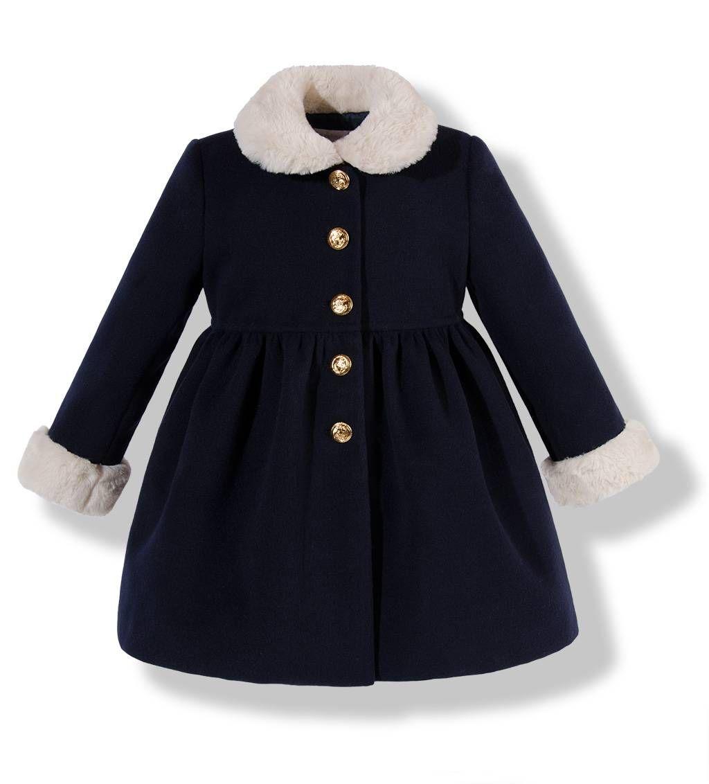 Precioso Abrigo Para Niña De Vuelo De Paño Azul Marino Con El Cuello Y Los Puños En Pelo Beige Ropa Para Niñas Abrigos Para Niñas Abrigos