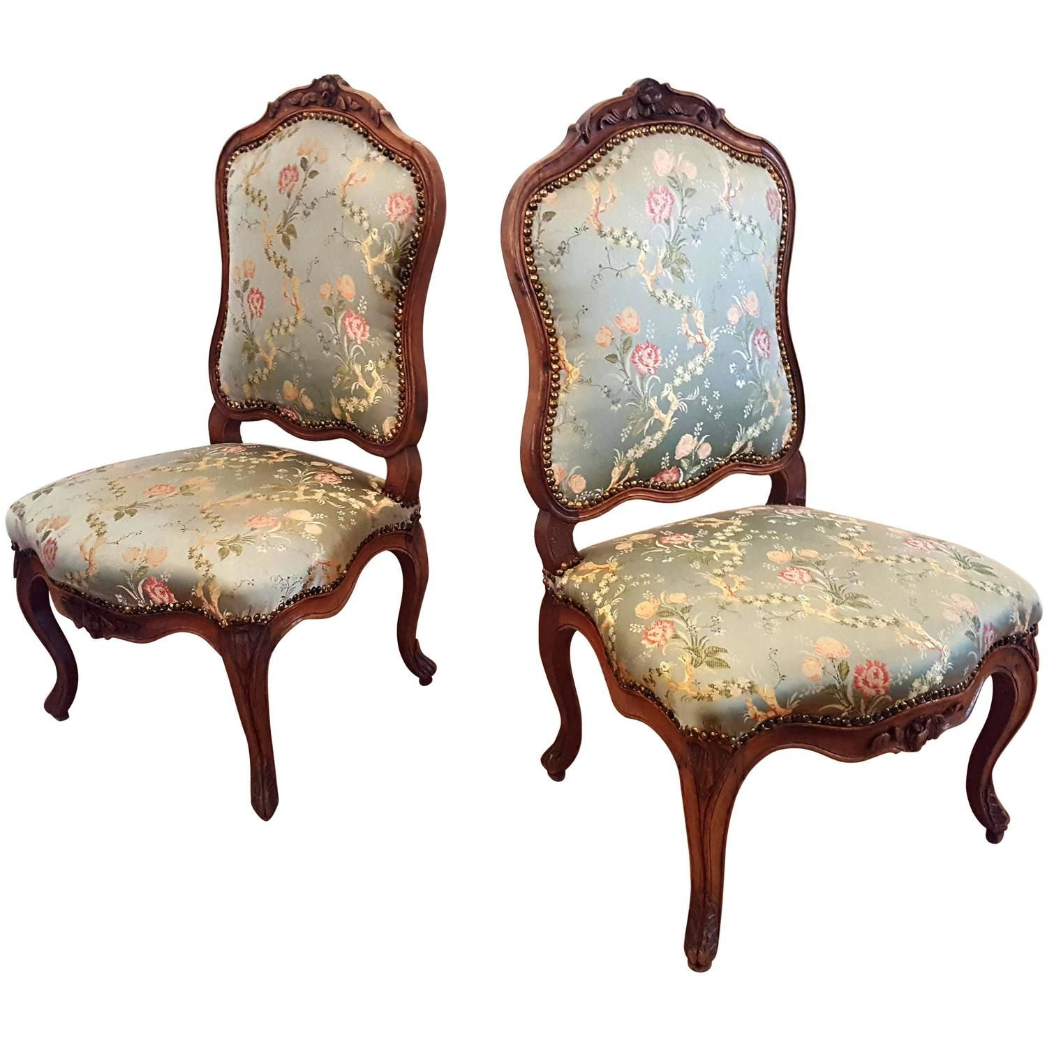 Fine Pair French Carved Walnut Rococo Chairs Nogaret silk