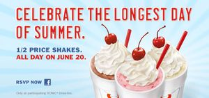 SONIC Summer Solstice 1/2 Price Shakes All Day (6/20)