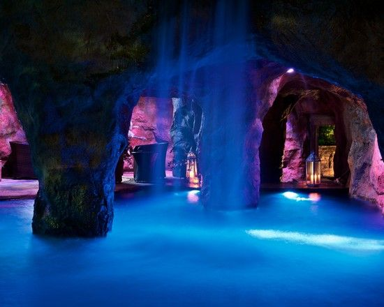 A pool in a man made cave complete with waterfall! This is the