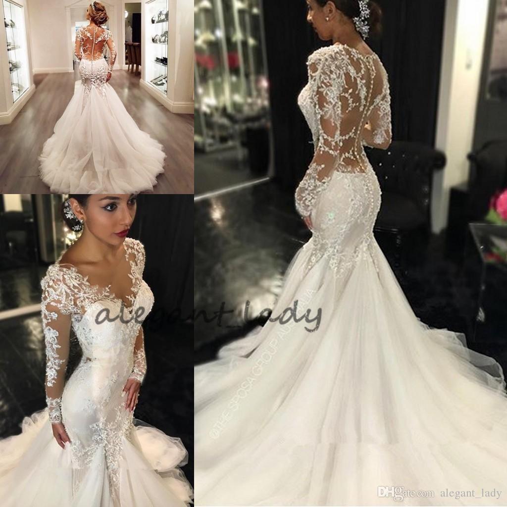 Mermaid Wedding Dresses 2018 Sheer Long Lace Appliques Sleeves