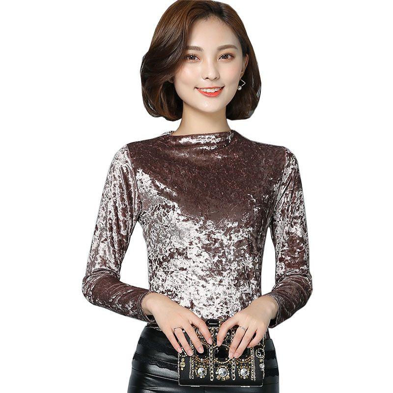 bb6e472c42f 2017 Fashion Winter Spring Women Velvet Tops Warm Velour Blouse womans Long  Sleeve basic shirt M-3XL Plus Size elegant blusas
