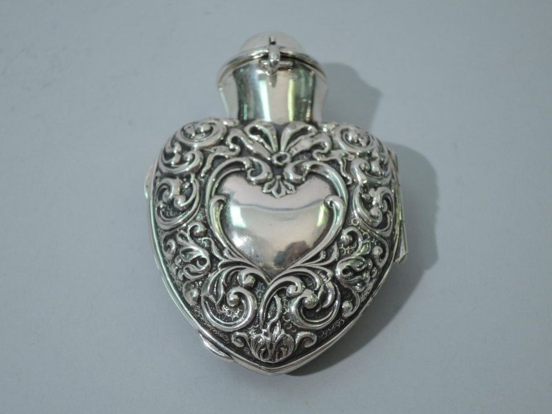 Victorian English Sterling Silver Heart Perfume 1899