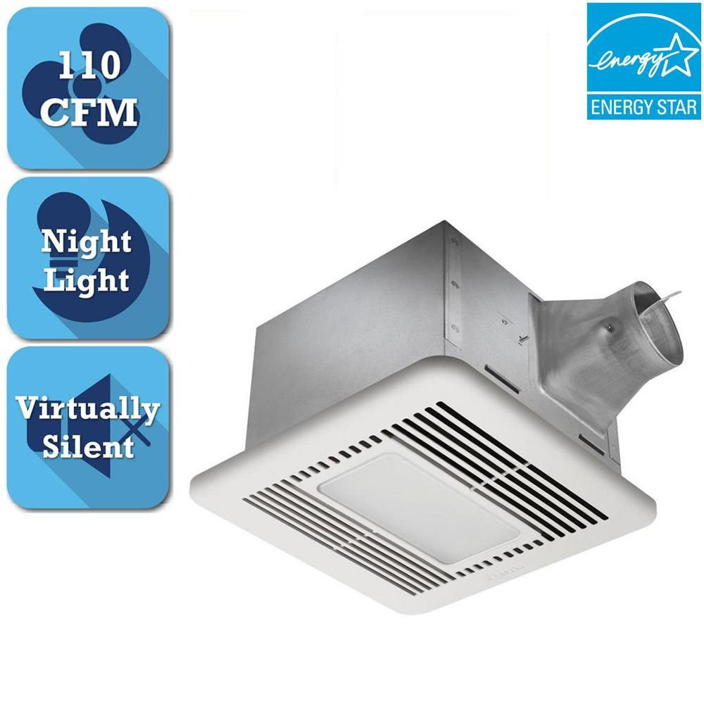 Delta Breez Signature G2 Series 110 Cfm Ceiling Bathroom Exhaust Fan With Led Light And Night Light Energy Star Sig110led Bathroom Exhaust Fan Night Light Energy Star
