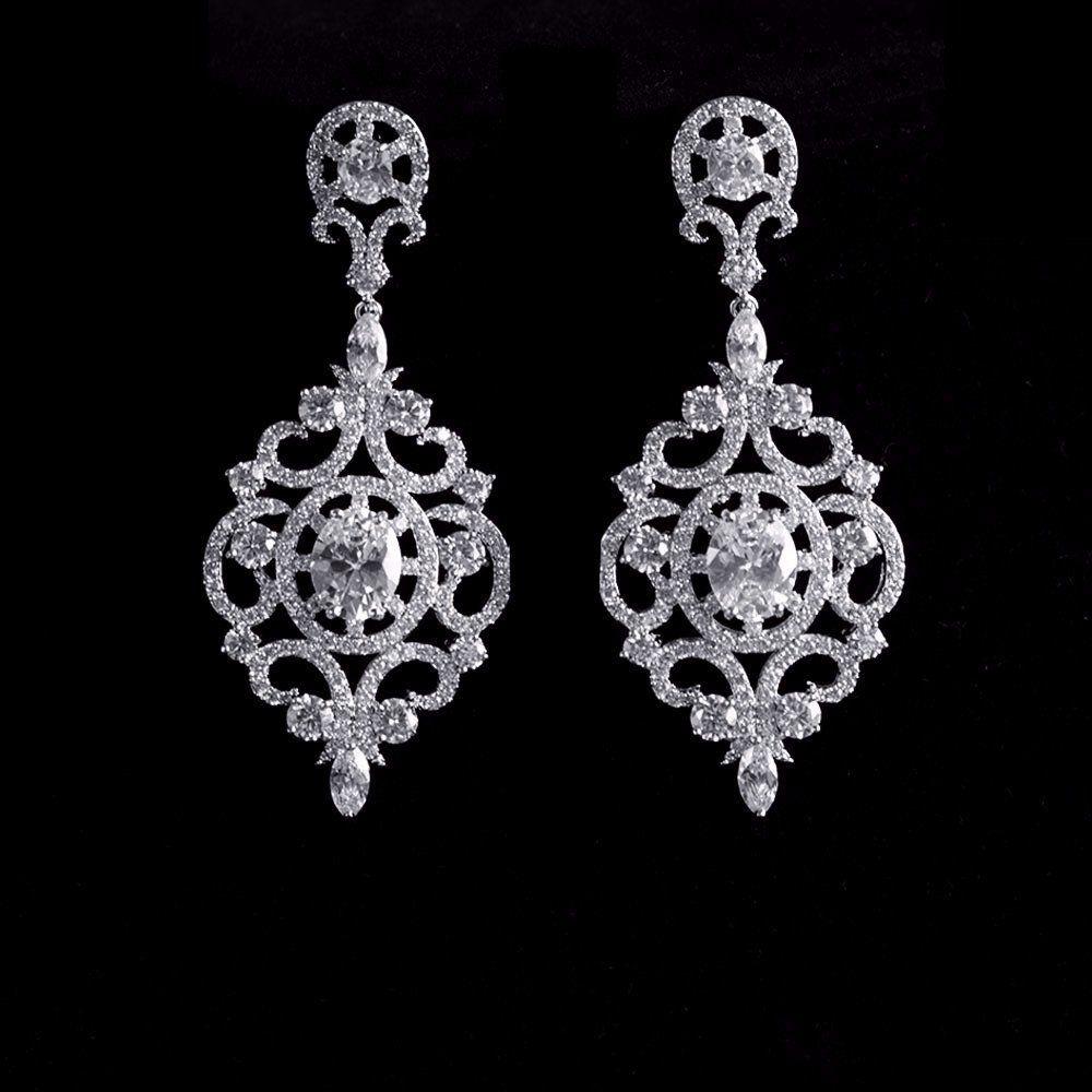 Vintage Clic Chandelier Micro Paved Bridal Earrings Cubic Zirconia Wedding