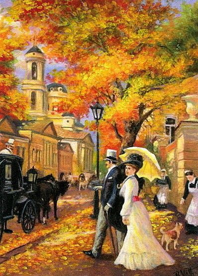 Victorian Autumn Avenue Carriage People Landscape Original Aceo
