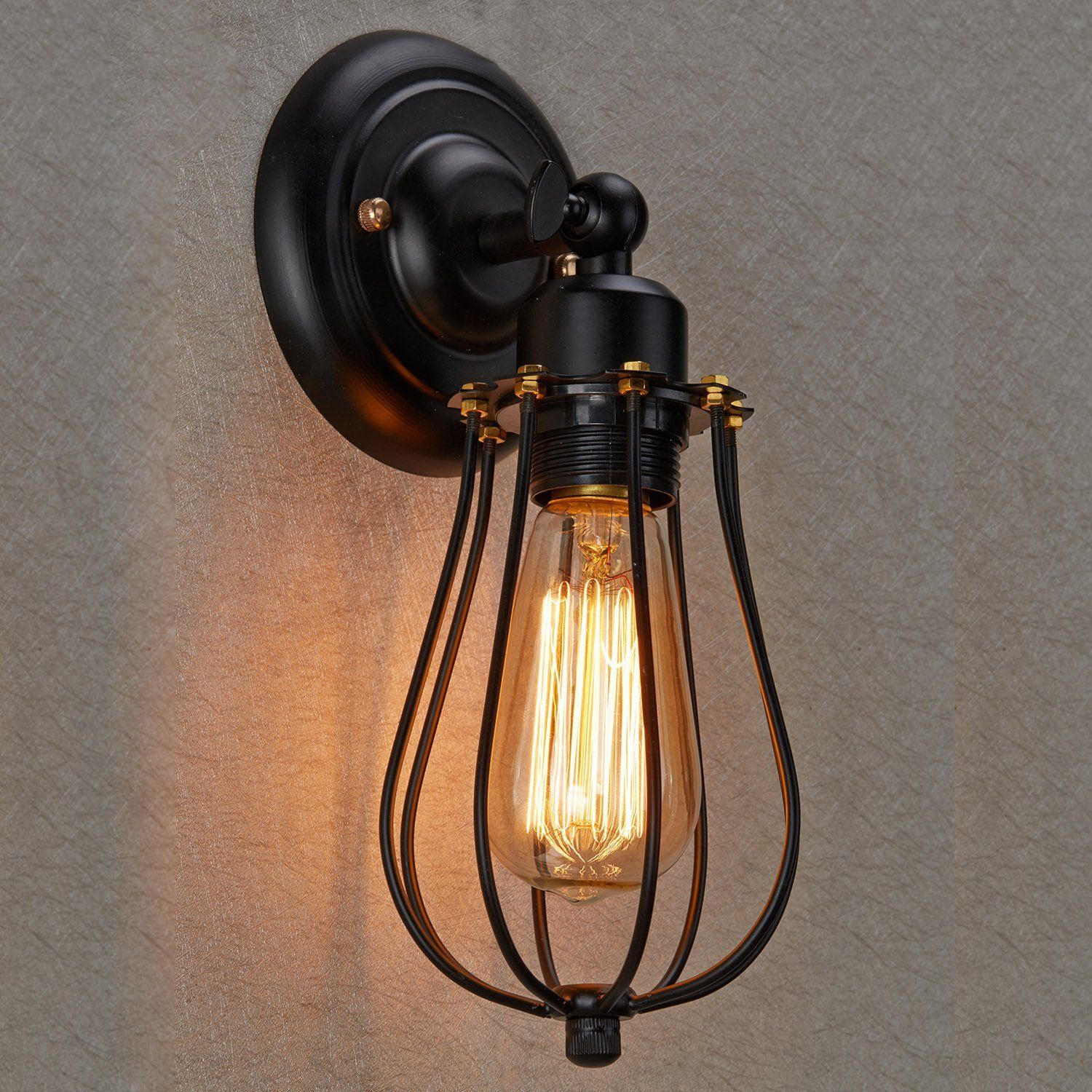 Ecopower Vintage Style Industrial Black Mini Wire Cage Wall Sconce