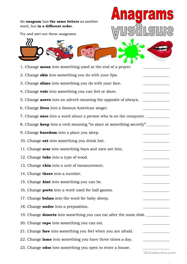 hight resolution of Anagrams - English ESL Worksheets for distance learning and physical  classrooms   Anagram
