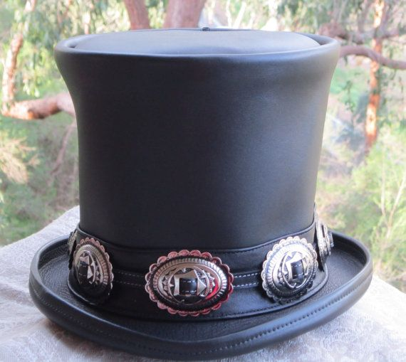 Australian Hand Crafted Black Leather Slash Style Tribute Etsy Leather Top Hat Slash Top Hat Leather Hats