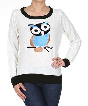Loving this Ivory & Blue Owl Scoop Neck Sweater on #zulily! #zulilyfinds