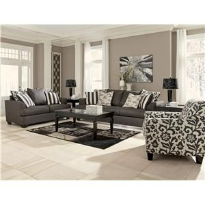 Levon   Charcoal Sofa With Scatterback Pillows And Plush Coil Seat Cushions  By Signature Design By