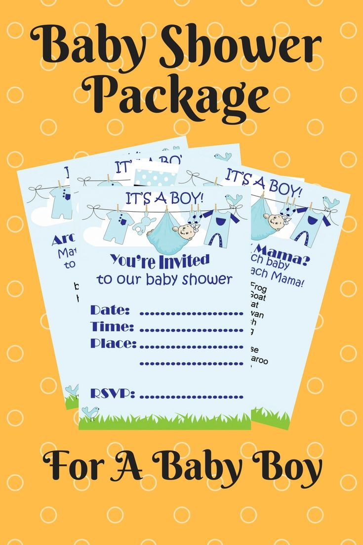 Baby Shower Package Printables Baby Boy Blue Invitations Games