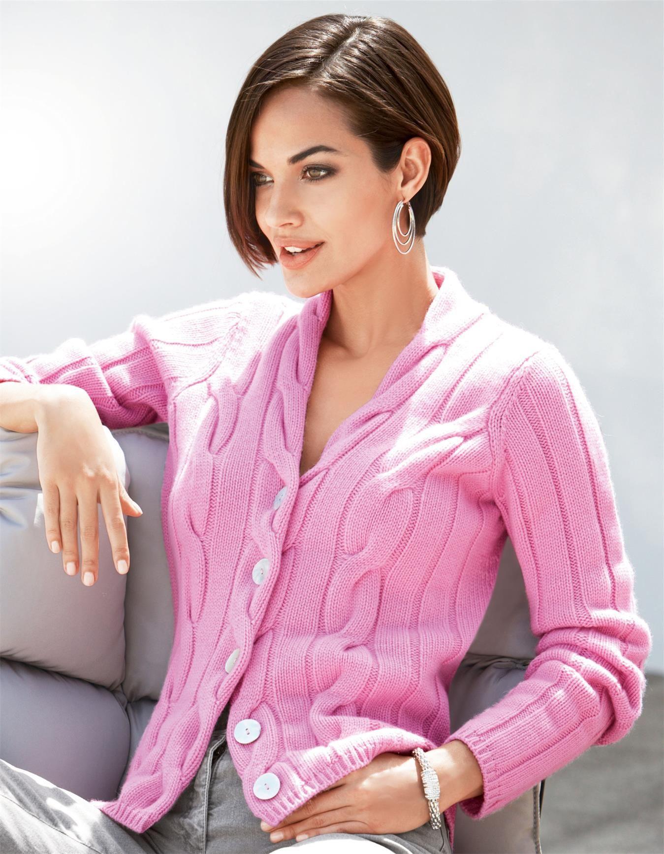 Strickjacke in den Farben wildrose, schwarz - rosa - im MADELEINE Mode Onlineshop
