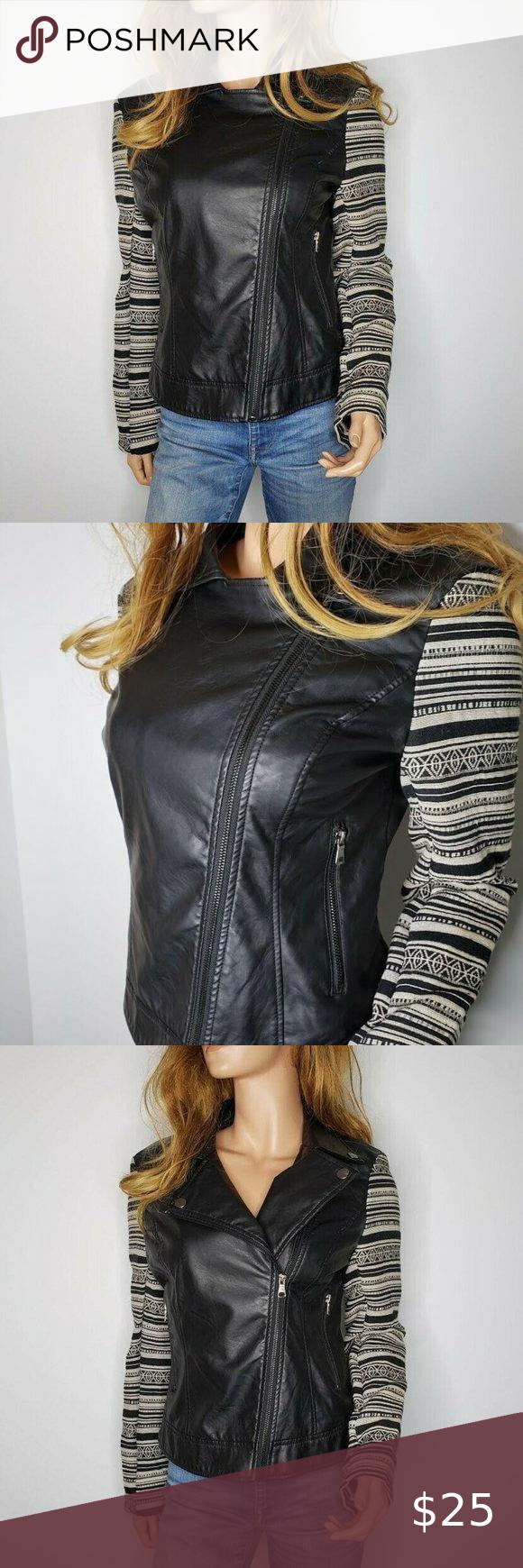 Ci Sono By Cavalini Faux Leather Aztec Moto Jacket Faux Leather Motorcycle Jacket Moto Jacket Jackets