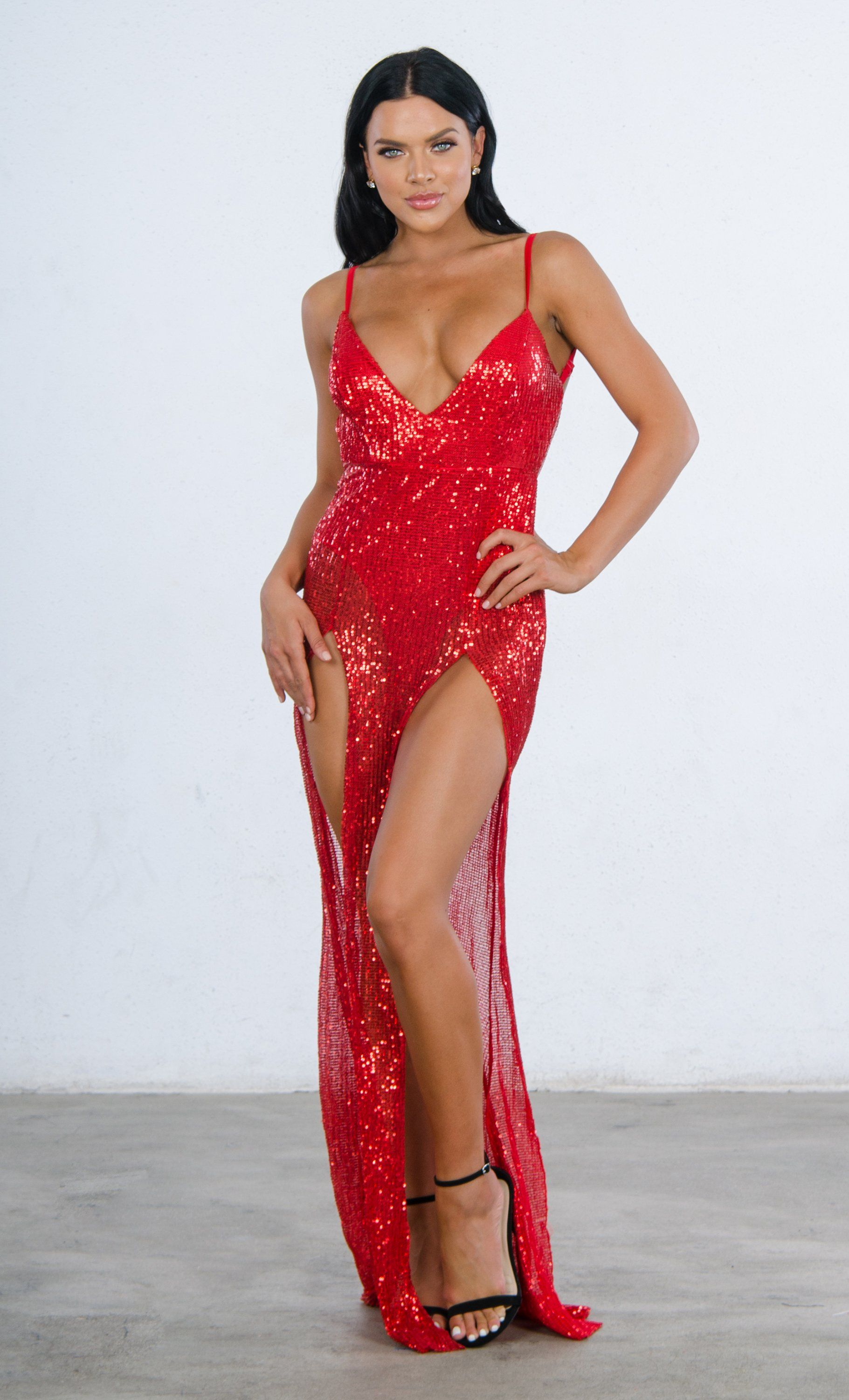 7738fae9bc6 Mystery Girl Red Semi Sheer Sequin Spaghetti Strap Sleeveless Plunge ...