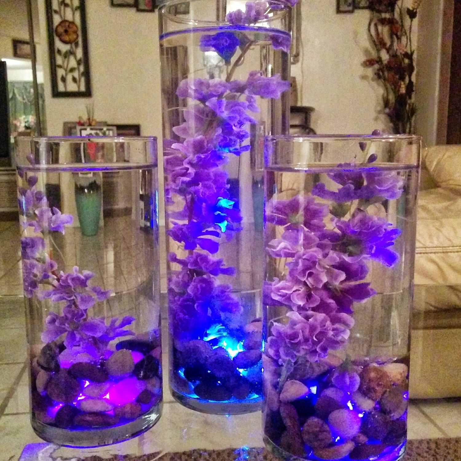 Floating flowers in water glass vase with rocks candles and led floating flowers in water glass vase with rocks candles and led lights by queenvashtie on etsy floridaeventfo Gallery