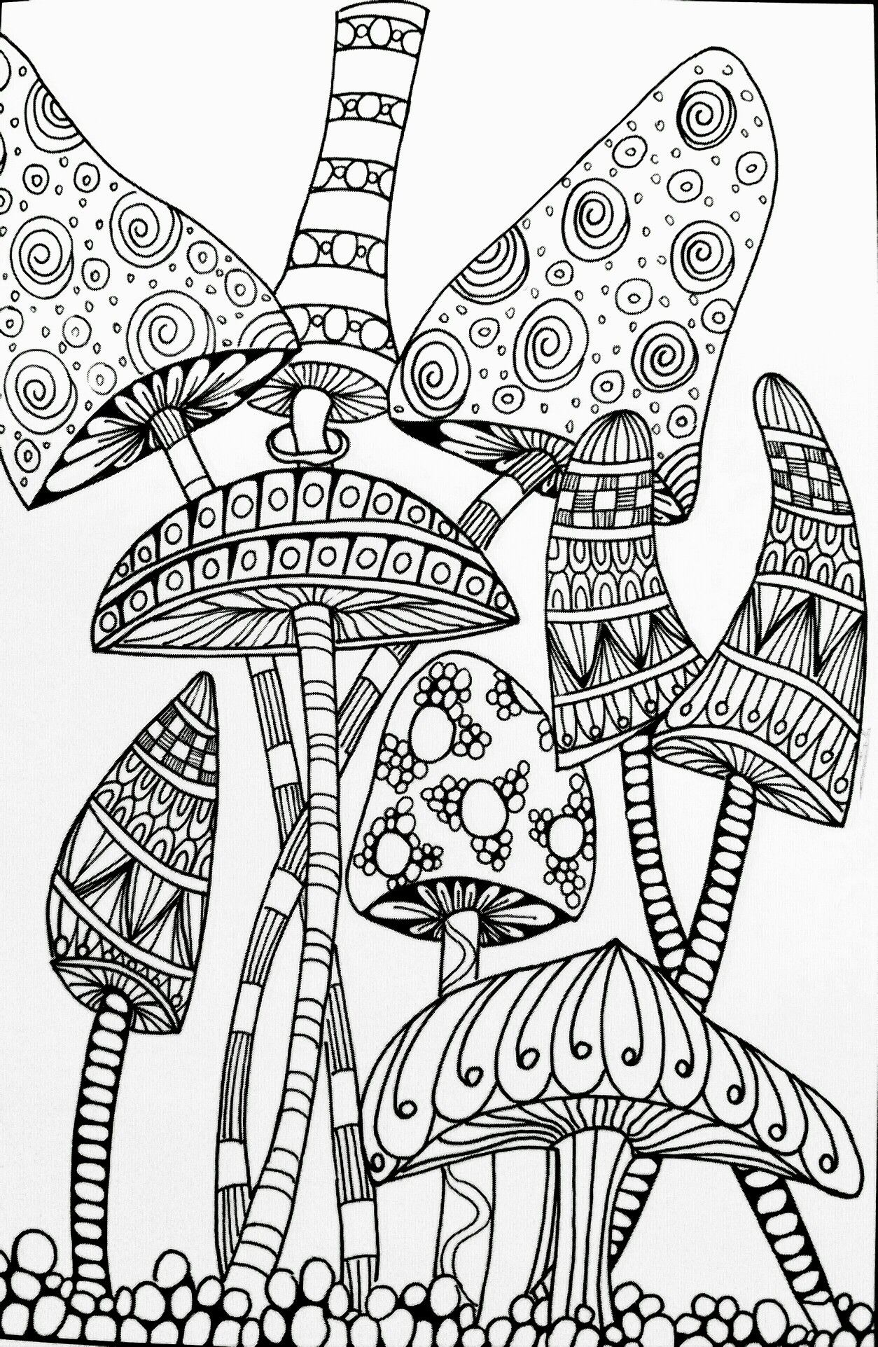 Trippy Mushroom Coloring Pages Free
