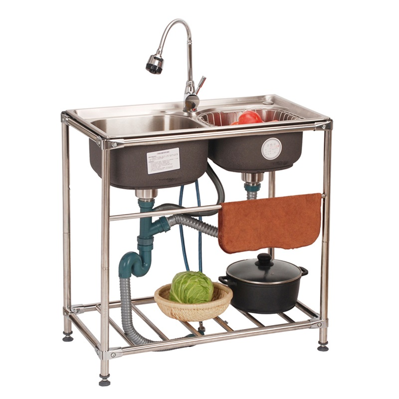 Kitchen Sink Flexible Modern Simple Stainless Steel Outdoor Washing Double Bowl Sink Faucet Not Included Double Bowl Sink Sink Faucets Kitchen Sink