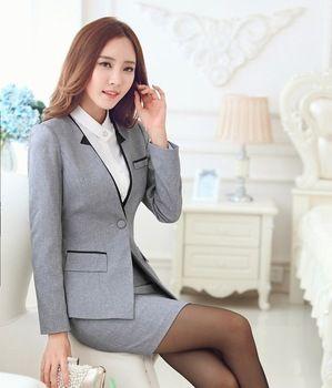 Formal gris Blazer mujeres trajes de negocios con falda y conjuntos  chaquetas para mujer elegantes trabajar trajes estilos uniformes de oficina 13d30f48d48f
