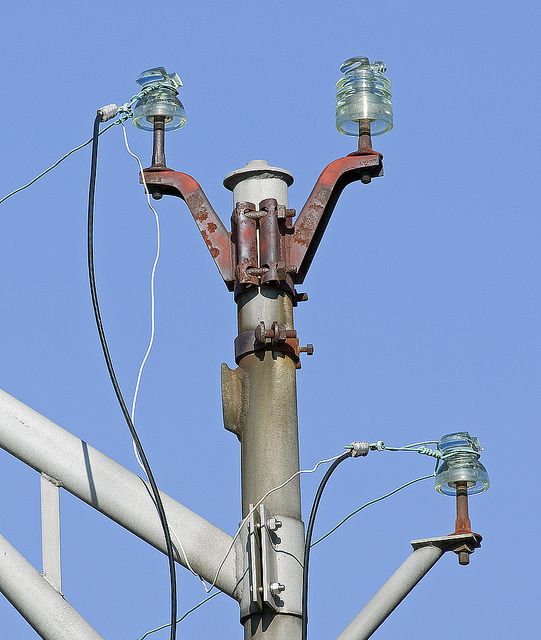 street light post with glass insulators glass insulators