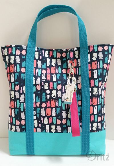 Library tote bag with Dritz swivel hook & key fob hardware