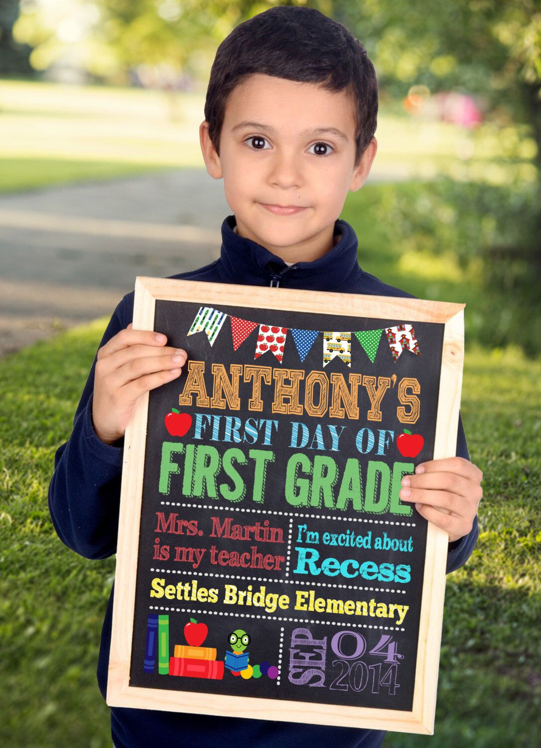 First Day Of School Sign First Day Of Kindergarten Sign