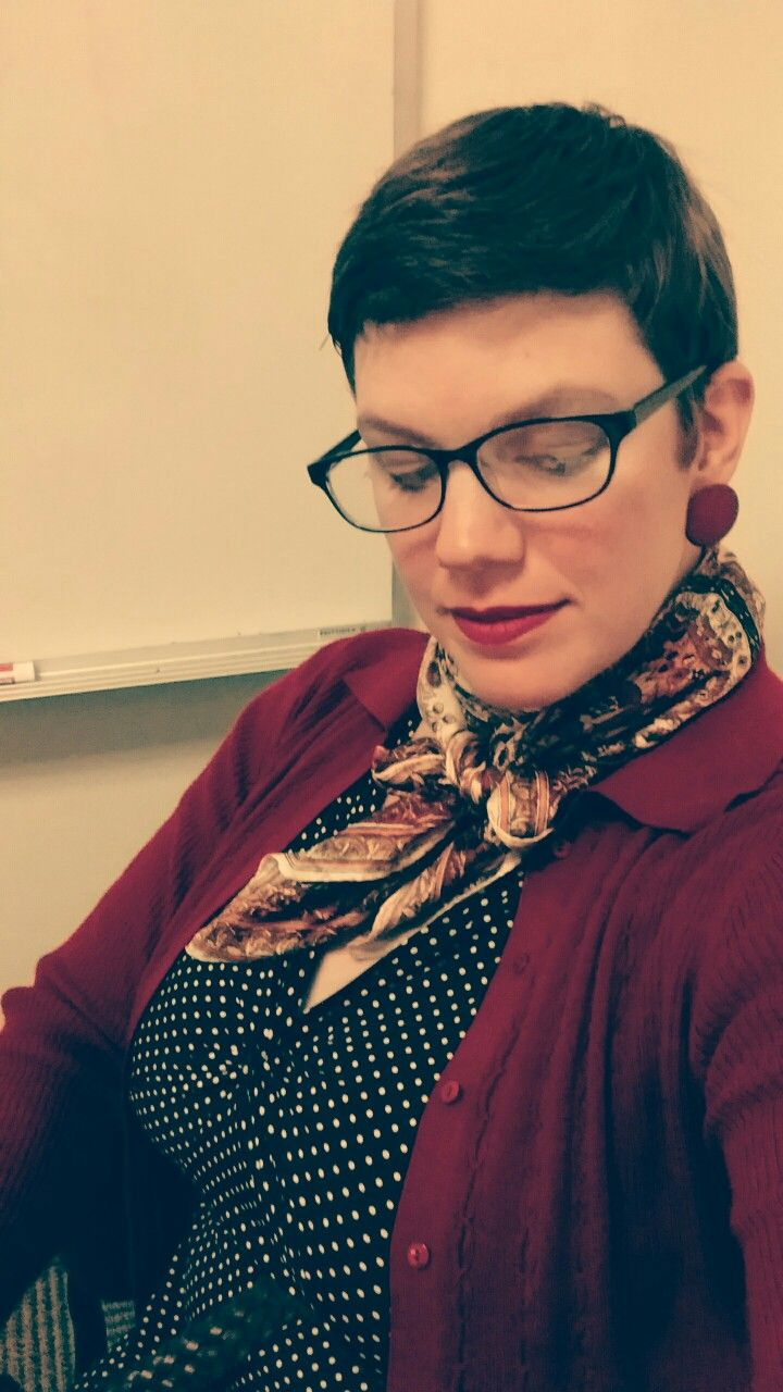 Librarian Chic - black and white polka-dot dress, vintage silk scarf, brick red cardigan, copper earrings, glasses
