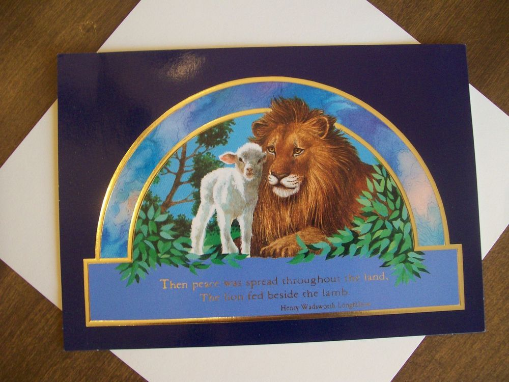 Longfellow lion and lamb Christmas card | Lion and lambs | Pinterest ...