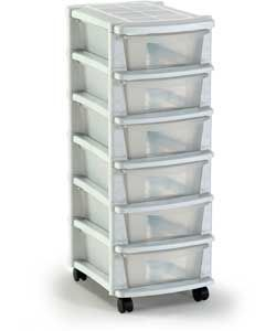 Keter  Drawer Plastic Slim Tower Storage Unit White   Argos
