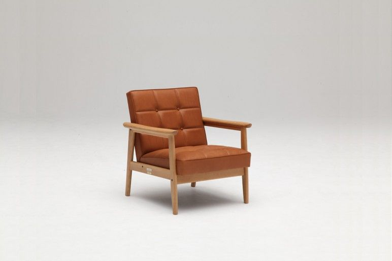 Lovely K Chair, In Light Brown Leather, Karimoku Awesome Design