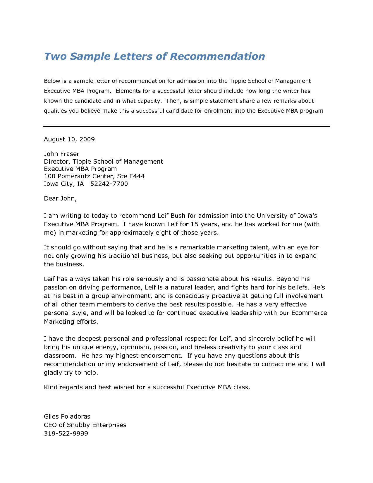 Letter For Harvard Business School