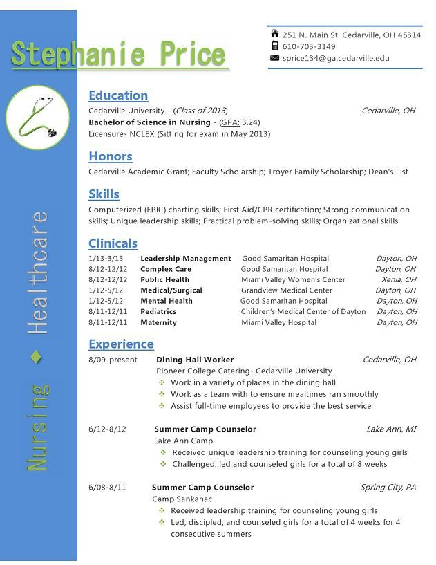 My resume design for a healthcare or nursing position- in blue and