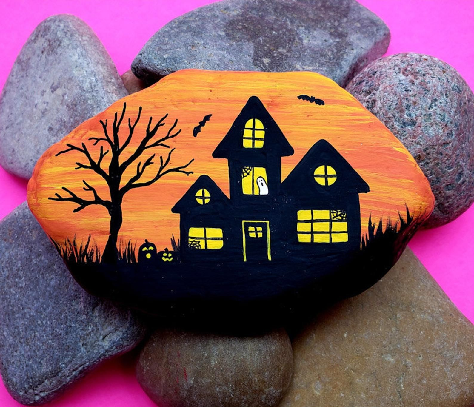 House On The Rock Halloween 2020 Haunted House Painted Rock Tutorial | Etsy in 2020 | Painted rock