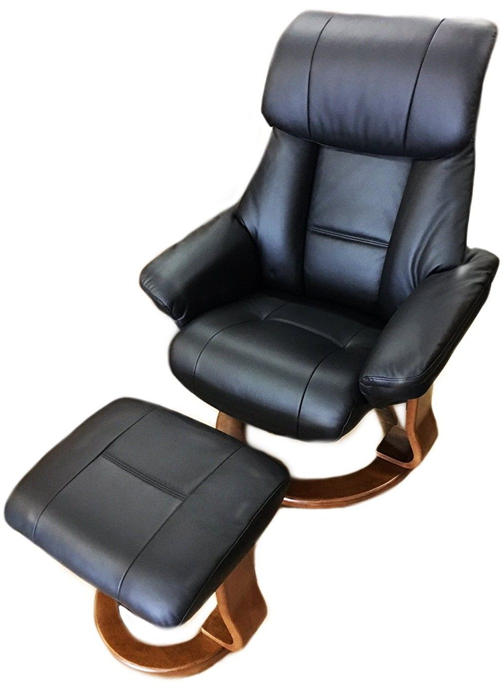 black leather recliner chair with ottoman