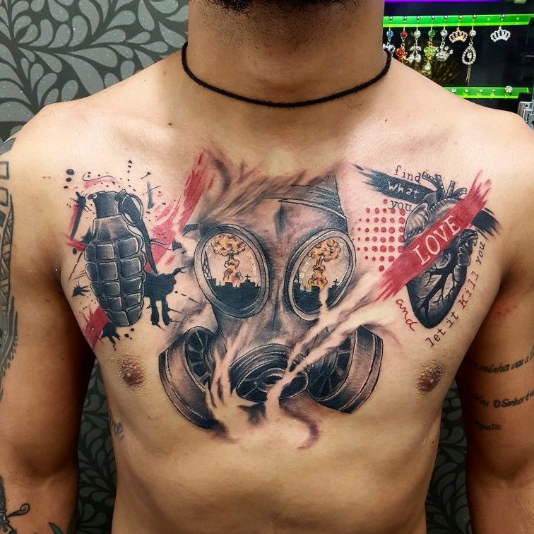 Tattoo Trash Polka Mascara De Gas Granada Coracao Humano Trash Polka Ideias De Tatuagens Tatuagens