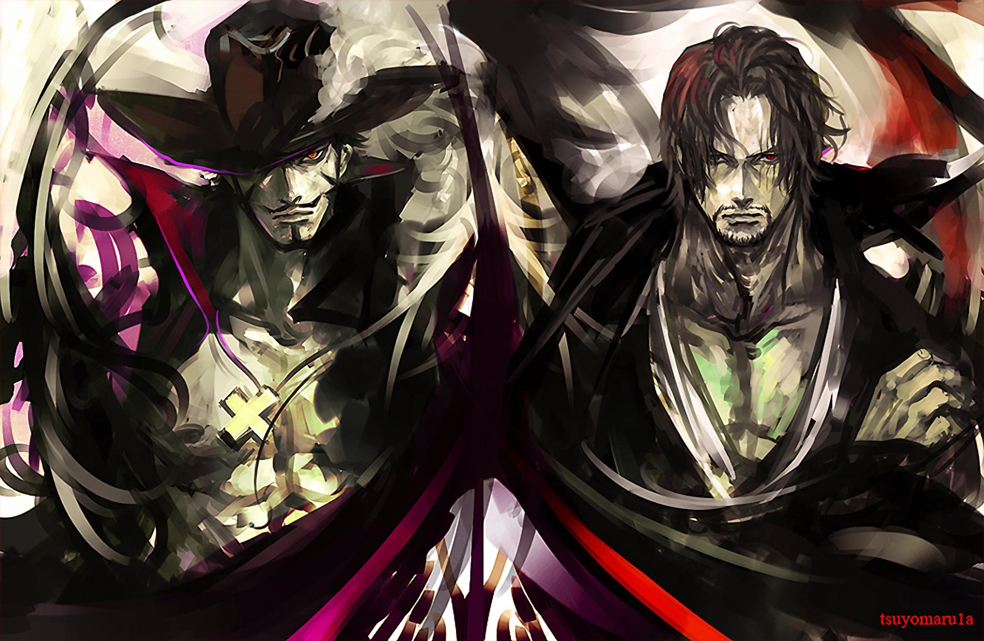 Anime One Piece Shanks (One Piece) Dracule Mihawk Fondo de
