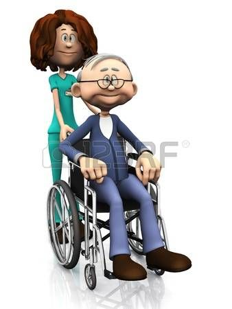 Discapacitados Felices Una Enfermera De Dibujos Animados Para Ayudar A Un Anciano En Silla De Ruedas Blanco Fondo Chistes Borrachos Discapacitados Borrachos