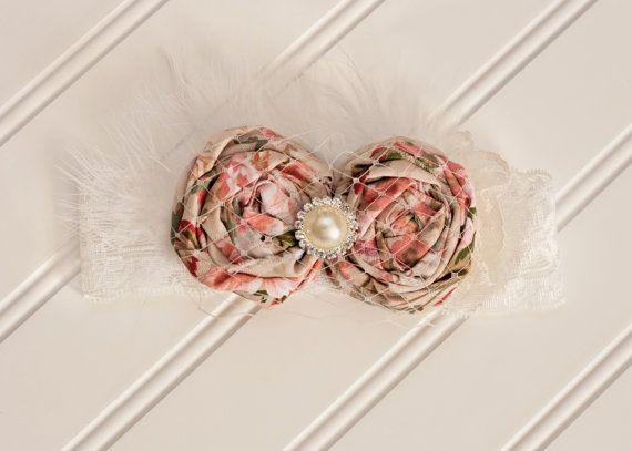 Rolled Rosette Headband, Pearl Rhinestone Center, Ivory Netting, Feathers, Lace, 6-12 Months