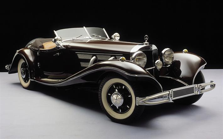 Download wallpapers Mercedes-Benz 500K, 1936, W29, sports retro car, cabriolet, classic cars, Mercedes besthqwallpapers.com