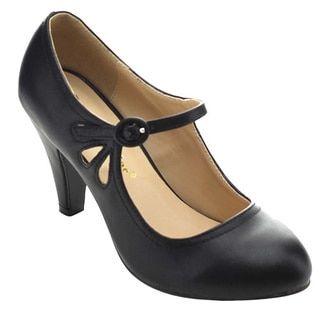 813f4f1375 Chase & Chloe Kmmy-21 Women's Round Toe Pierced Mid Heel Mary Jane Dress  Pumps