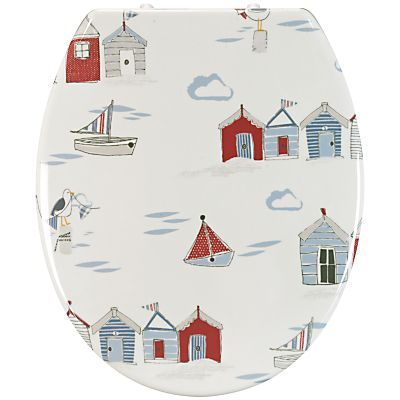 Coastal Bathroom Beach Huts Toilet Seat Multi Decorating