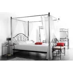 Photo of Baroque style canopy bed for 2 people Victoria Black Miliboo