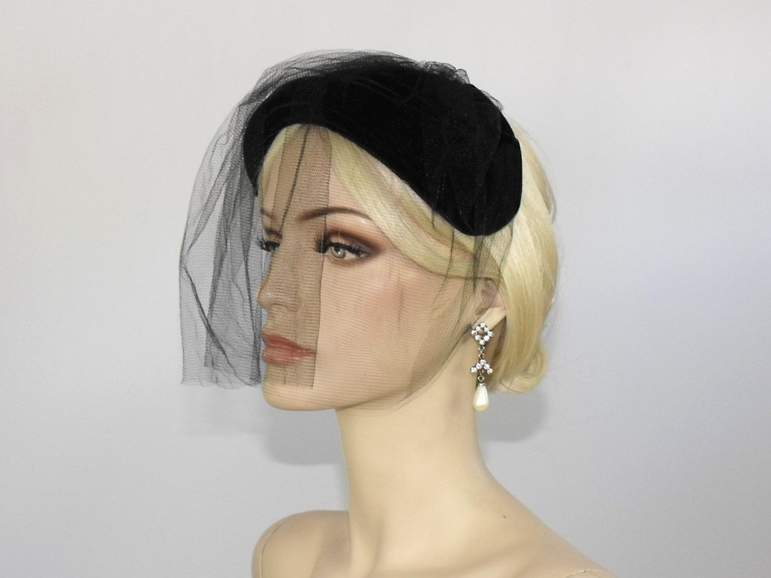 1940 s Black Velvet Cocktail Hat with Veil    Vintage Mourning Veil     Steampunk Veil by WildWoodRoseVintage on Etsy 3ba4e468b83