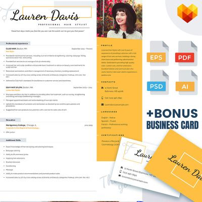 Personal Pages Lauren Davis Hair Stylist Resume Template Design - hair stylist resumes