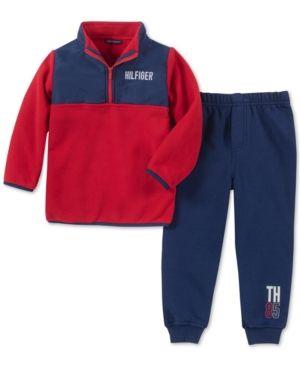 ef62729c22d1 Tommy Hilfiger Baby Boys 2-Pc. Fleece Pullover   Jogger Pants Set - Red Blue  3-6 months