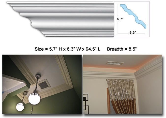 Cm 1079 Crown Molding 8 1 2 Crown Molding 5 7 H X 6 3 W X 94 5 Long Commonly Used With 11 14 Ceilings Usually S Crown Molding House Interior Molding