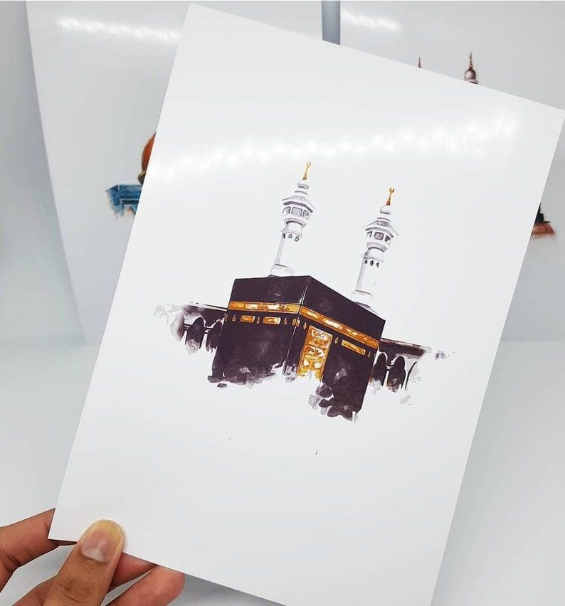 Set of 3 Islamic Landmark Prints (The Holy Kabah - Masjid an Nabawiy - The Dome of The Rock) Available with Frames