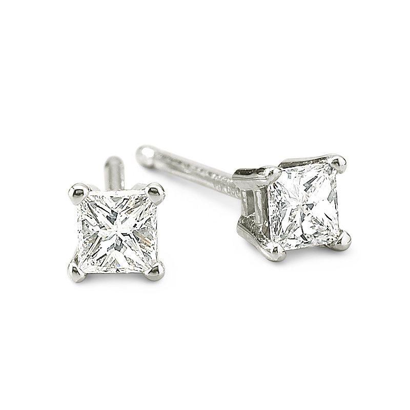 1ba138307de 1/4 CT. T.W. Princess Diamond Stud Earrings | Products | Diamond ...